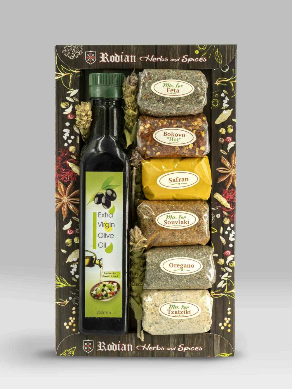 BOX OLIVE OIL 250ML MIXED SPICES